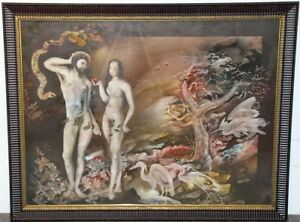 "Genuine Vintage Jonh Wissemann Painting""Adam&Eve"" WatercolorPaper Framed Signed"