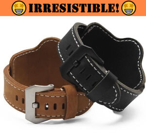 DEPP Leather Cuff Bracelet Strap Watchband BlackBrown 22mm 24mm