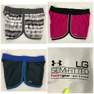 Under Armour Lot Of 3 Womens Large Shorts Multicolor Running Semi Fitted EUC