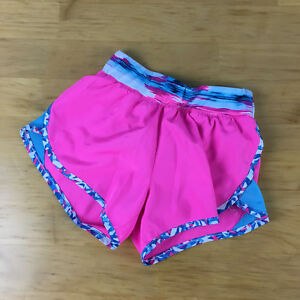 Nike Girls Sz 6X Tempo Rival Shorts Pink Blue White Running Athletic Lined