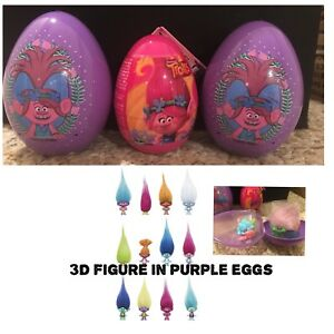 New Three Keepsake TROLLS Surprise Eggs With 3D Figure, Sticker And Candy