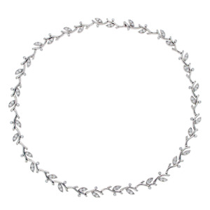 Auth Tiffany & Co. 950 Platinum & Diamonds Garland Choker Necklace Size 16