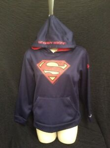 Boy's Hoodie Sweatshirt by Under Armour size Large Blue Superman