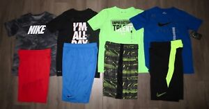 NWT Lot 8 Boy's NIKE Dri-Fit UNDER ARMOUR Loose Shirts Athletic Shorts YLG Large