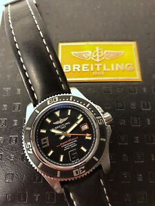 Breitling SuperOcean 44MM Diving Watch Black Dial Bracelet and OEM Leather Strap