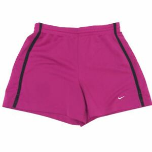 Nike Womens Medium Running Shorts Athletic Solid Pink Black Lined Hem Workout