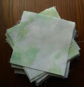 Lot of 62 Approx. 4quot; Square Quilting Square 100% Cotton TyeDye Look Light Green $6.50