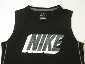 Nike Boys Shirt M Tank Top Jersey Black Dri Fit Muscle Athletic Sleeveless