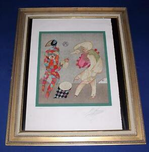 Mihail Chemiakin HARLEQUIN AND COLUMBINE Lithograph LE 8 25 Signed Artist Proof $2499.99