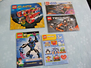 5 Lego Instruction Manuals 6163 42026 8016 8411 & 8060