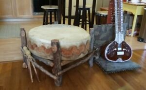 1961 - Antique Taos Pueblo Pow-Wow Drum - with Stand