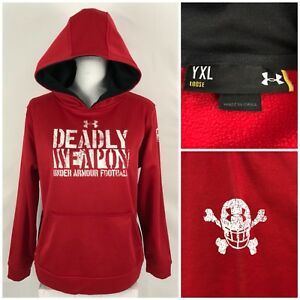 Under Armour Boys XL YXL Sweatshirt Hoodie Red Football Deadly Weapon Rare
