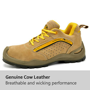 Safetoe Safety Shoes Mens Work Boots Steel Toe Yellow Leather Breathable Sneaker