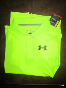 Under Armour Youth Size XL Golf Heat Gear Short Sleeve Limon Polo Shirt: New