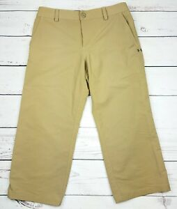 Under Armour Boys Golf Pants YLG Large Beige Tan Cropped Capri Length