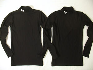 Lot 2 Under Armour Shirt Boys Youth L fitted fits M Base Layer Black Golf Tennis