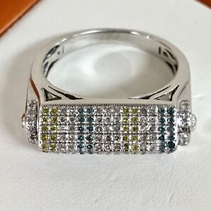 Men's Natural 1.30ct Round Cut WHITE YELLOW BLUE Diamonds Ring 10K White Gold