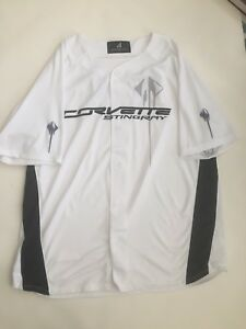 Corvette Stingray Size XL Baseball Style Button Down Jersey Shirt Motor City