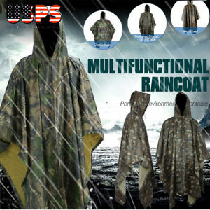 Waterproof Army Hooded Camo Ripstop Rain Poncho Military Hunting Camping Hiking