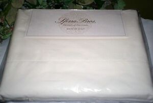 Crisp Italian Percale Ivory Sheet Set SFERRA LONG STAPLE Cotton Queen or King