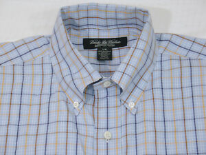 Brooks Brothers mens Country Club Framed Check BD gusset Sport Shirt L Blue $148