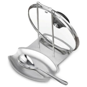 Stainless Steel Kitchen Oven Stove Lid and Spoon Rest Utensils Lid Holder