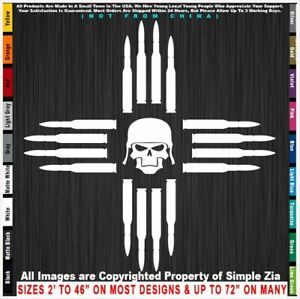 Simple Zia Bullets and Skull New Mexico NM state flag symbol sticker decal
