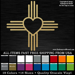 Simple Zia Heart version New Mexico NM state flag emblem sticker decal