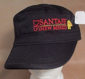 Santa Fe New Mexico Ski Hat Cap Cadet Flat Top Skiing USA Embroidery  New
