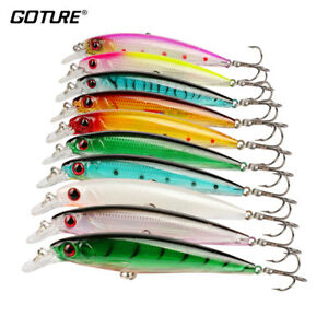 10pcslot Minnow Fishing Lures Floating Crankbaits 10 Colors Bass Pike Trout
