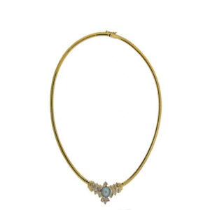 14K Yellow Gold Choker Baguette With Round Black Pearl