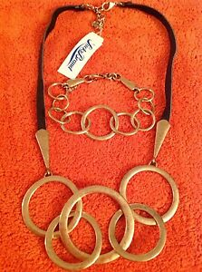 LUCKY BRAND GOLD TONE CIRCLE LINKS BROWN LEATHER CORD NECKLACE BRACELET SET