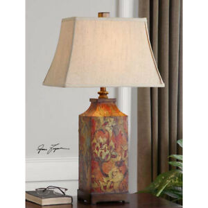 French Country Table Lamp Flower Design