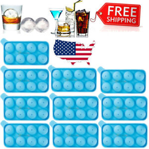 Lot Round Ice Balls Maker Tray 8 Large Sphere Molds Bar Cube Whiskey Cocktails
