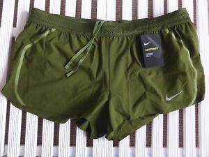 Womens XL NIKE AEROSWIFT Khaki Green Running Shorts Gym Fitness Lightweight NEW
