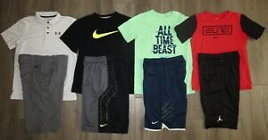 Lot 8 Boy UNDER ARMOUR NIKE Dri-Fit Elite Polo Shirts Athletic Golf Shorts Large