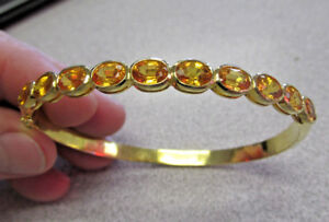 Stunning 8 inch Golden Sapphire Bangle Bracelet 18k Gold for Large Wrist  Offer?