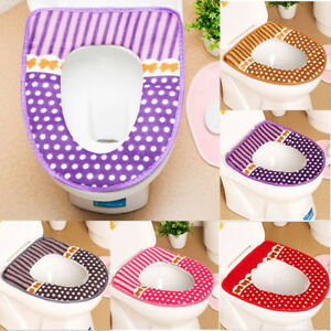 Washable Toilet Seat Lid Top Cover Pad Mat Bathroom Warmer Cloth Soft Closestool