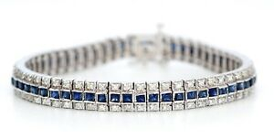 14K White Gold Antique Blue Sapphire & 1 34 ctw Diamond Bracelet (A3025)