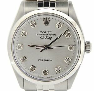 Rolex Air King Mens SS Stainless Steel Watch Silver Diamond Dial Jubilee 5500 $3587.98