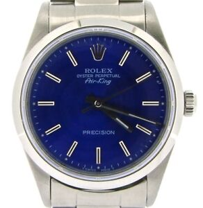 Rolex Air King Mens Stainless Steel Watch Oyster w Submariner Blue Dial 14000 $3863.98