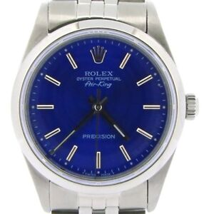 Rolex Air King Mens Stainless Steel Watch Jubilee w Submariner Blue Dial 14000 $3863.98
