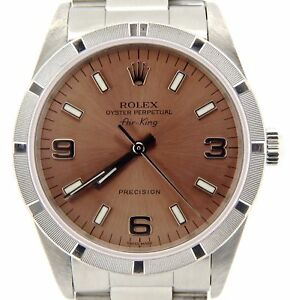 Rolex Air King Mens Stainless Steel Watch Oyster Salmon Arabic 3 6 9 Dial 14010 $4139.98