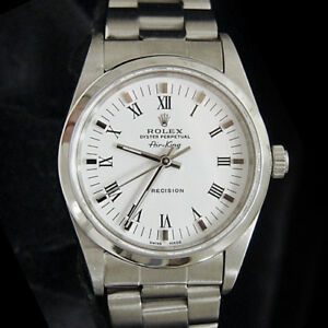 Rolex Air King Mens Stainless Steel Watch White Black Roman Dial Oyster 14000 $4231.98