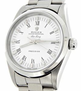 Rolex Air King Mens Stainless Steel Watch White Black Roman Dial 14000 $4231.98
