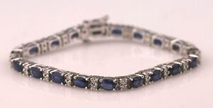 Estate $4850 14K White Gold 1.15 Carat Diamond & Sapphire Bracelet B1237