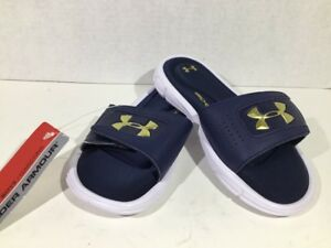 Under Armour Youth Boys Size 2 NavyGold Ignite V Slide Sandals Shoes ZS-485