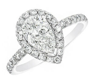Pear Shape GIA Certified 1.90 ct Halo Design Diamond Engagement Ring 18k Whit...