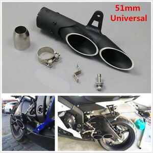 Universal Racing Motorcycle Dual-outlet Exhaust Pipe Refit Muffler Tip Pipe 51mm