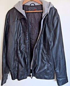 Men's Imitation Black Leather Jacket Guess Size XL Extra Large with Hoodie